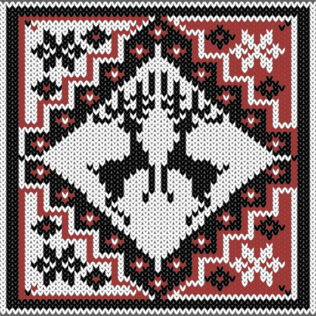 nordic: winter knitted decorative nordic pattern with deers