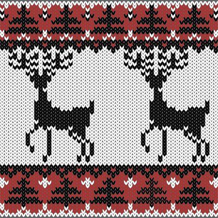 Deers에 겨울 니트 장식 노르딕 패턴 스톡 콘텐츠 - 11541489