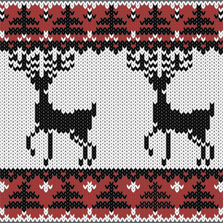 winter knitted decorative nordic pattern with deers Vector