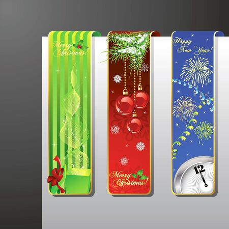 A set of Merry Christmas and New Year banners Vector