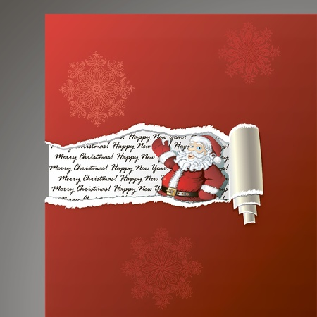 Teared paper background with Santa, hand drawing decorative snowflakes