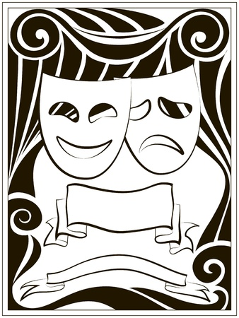 comedy tragedy: Abstract black and white background with theater masks and banners Illustration