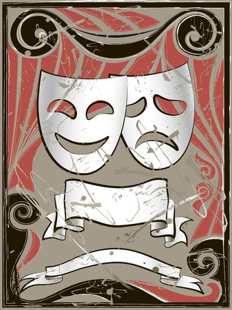 tragedy mask: Abstract vintage background with theater masks and banners