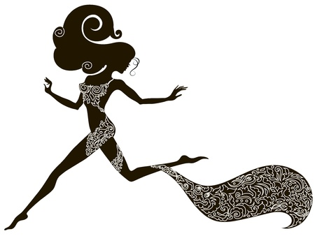 woman jump: Handdrawing silhouette of a beautiful sexy running girl decorated with ornament Illustration