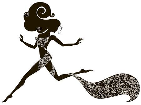siluetas de mujeres: La silueta de una ni�a de Handdrawing funcionamiento sexy decorado con adornos