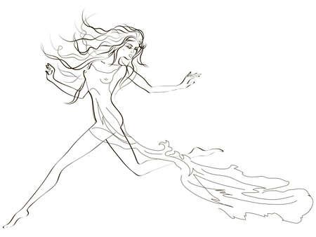 Handdrawing skatch of a beautiful running woman Illustration