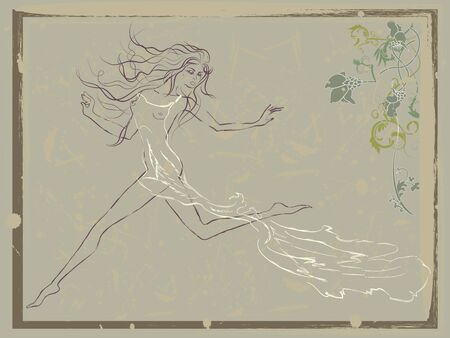 Vintage illustration of beautiful running woman decorated with floral ornament Illustration