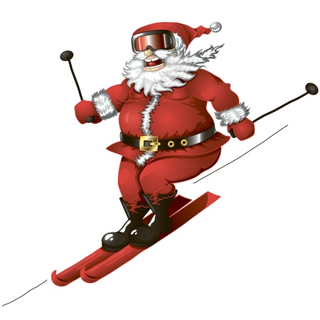 Isolated cartoon illustration of cute Santa skiing Vector