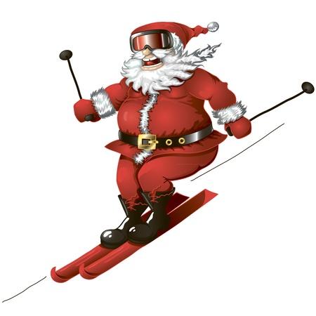 Isolated cartoon illustration of cute Santa skiing