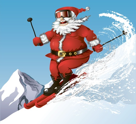 cute cartoon Santa having his winter fun on skies in the mountains