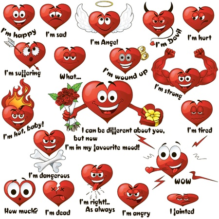A set of cute cartoon hearts expressing different emotions Vector