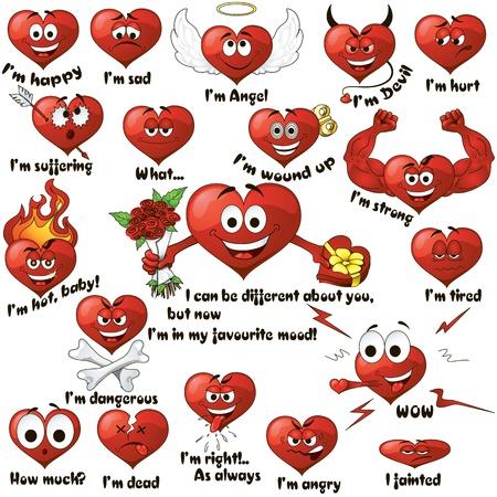 diablo y angel: Un conjunto de corazones lindos de la historieta que expresan diferentes emociones Vectores