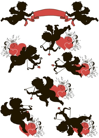A set of cute cupid silhouettes decorated with hearts and floral ornament
