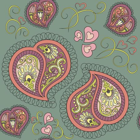 Cute ornamental colorful heart paisley seamless pattern Vector