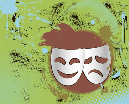 Grunge vintage colorful theater masks emblem with abstract background photo