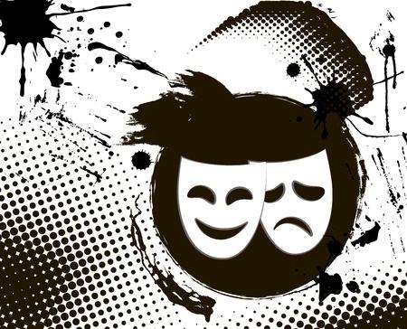 Vintage grunge theater masks emblem in black and white colors