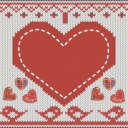 Knitted pattern with heart, birds in love, decor and appliqie Illustration