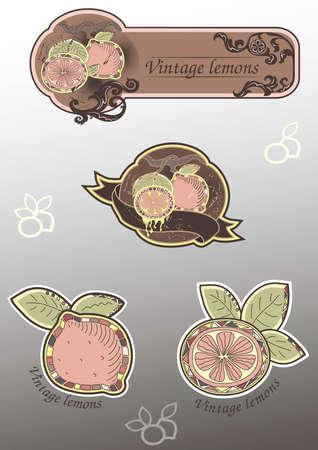 A set of vintage lemon labels and stickers