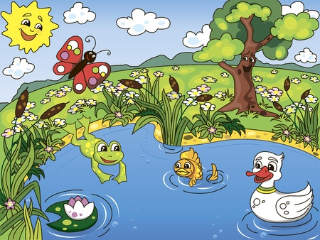 Cartoon kid s illustration of the pond life with a frog, fish, duck, butterfly and lotus