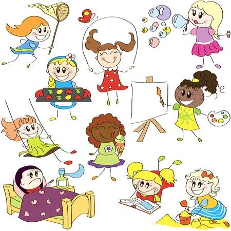 bimbi che giocano: Disegno schizzi a mano di bambine in diverse azioni