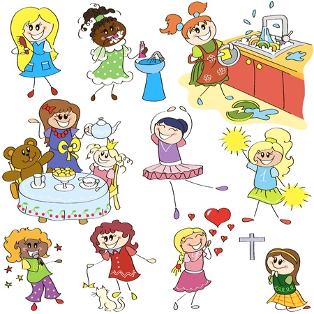 Hand drawing sketches of little girls  in different actions Vector