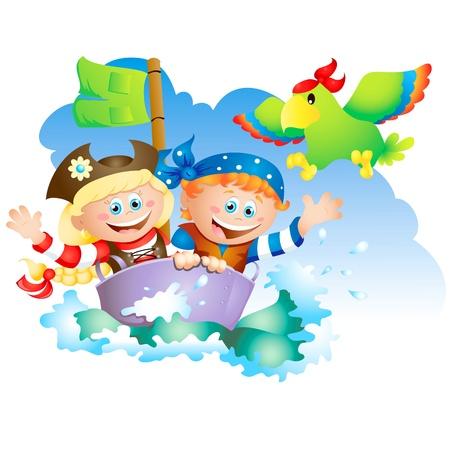 Ilustración de dibujos animados de un niño y una niña jugando como lo son piratas Ilustración de vector