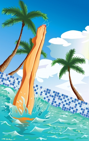 Summer background with beautiful sexy legs of a girl jumped to the pool  Illustration