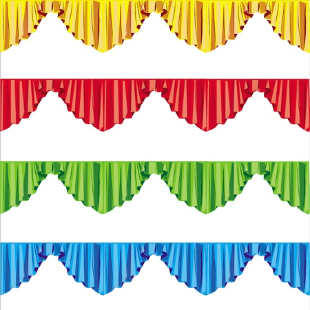 curtain drapes lambrican color, isolated on white background  Stock Photo