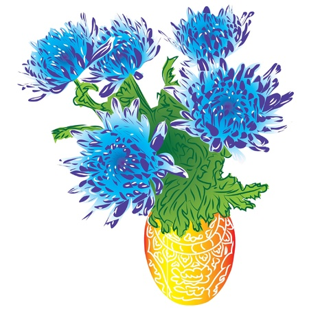 aster:  bouquet blue asters in vase, isolated on white background