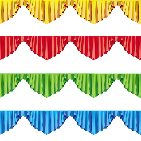window curtains: curtain drapes lambrican color, isolated on white background  Illustration