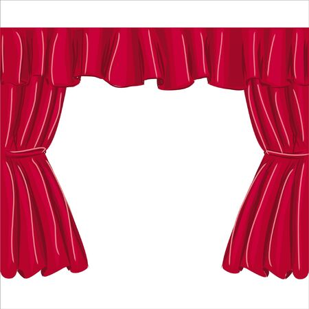 red curtain, isolated on white background