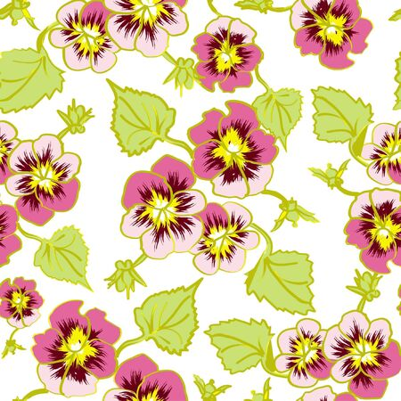 floral pattern flower pansy, isolated on white background Vector
