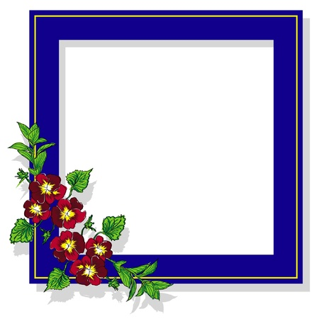 blue frame with flower pansy isolated on white background