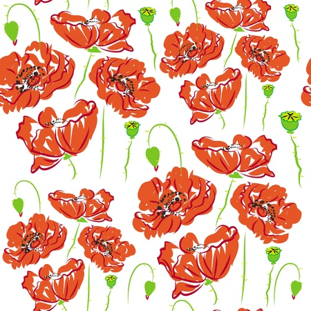 pattern flower poppy, anemone, isolated on white background  Illustration