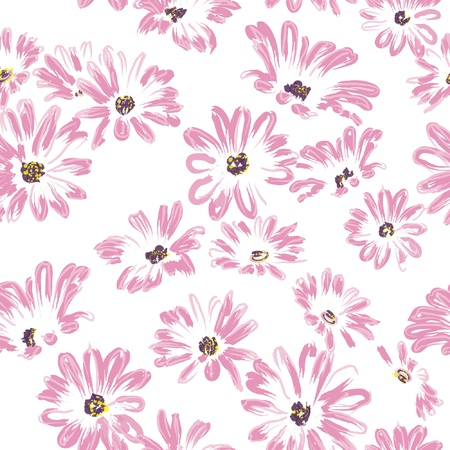 watercolour paper: pattern rose daisywheels, isolated on white background