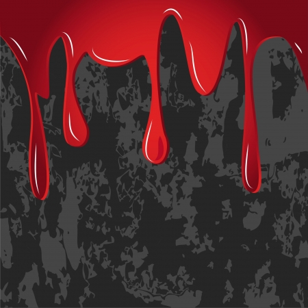 murder: red dripped on dirty gray wall