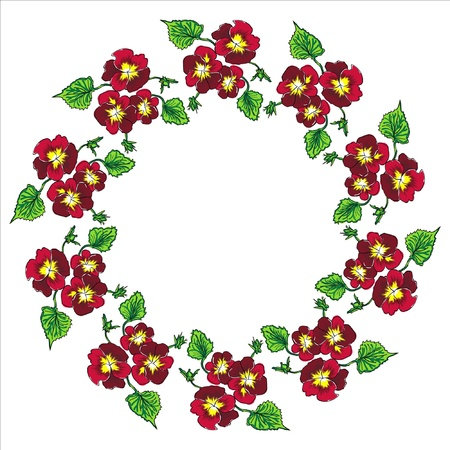 pansy wreath Illustration