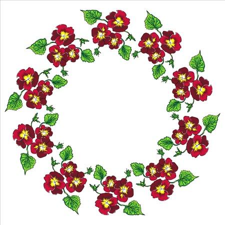 pansy wreath Illustration