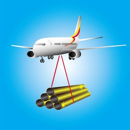 pipes metallic on plane