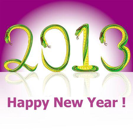 postcard Happy New Year snake 2013  Illustration