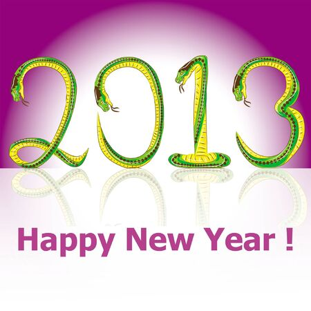 postcard Happy New Year snake 2013 Stock Vector - 15299189