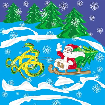 Santa Klaus with fir tree goes on sled with snake , isolated on white background  Illustration