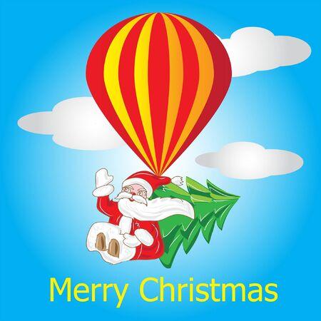 Santa Klaus with fir tree on air ball