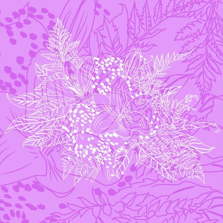bouquet lily flower sidebar, contour, tattoo  Vector