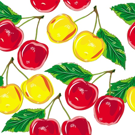 pattern cherry isolated on white background Illustration