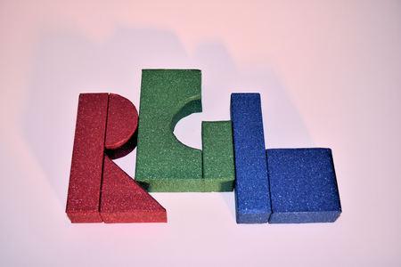 Red Green Blue Blocks on White Background Banco de Imagens