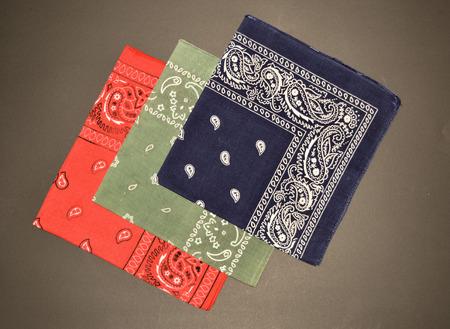 Red Green Blue Handkerchiefs on Black Background