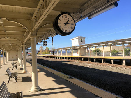 Lancaster Pennsylvania USA Train Station Platform with Clock
