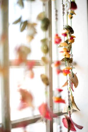 hanging threads for window decor 免版税图像