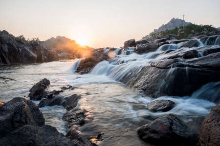 waterfall in the mountains at evening 免版税图像 - 158916200